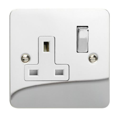 Varilight XFC4DW Ultraflat Polished Chrome 1 Gang 13A DP Single Switched Plug Socket